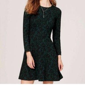LOFT Green Black Jacquard Long Sleeve Dress 18